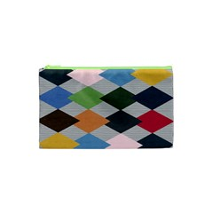 Leather Colorful Diamond Design Cosmetic Bag (xs)