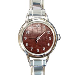 Leather Snake Skin Texture Round Italian Charm Watch