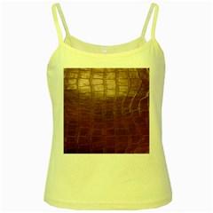 Leather Snake Skin Texture Yellow Spaghetti Tank