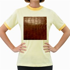 Leather Snake Skin Texture Women s Fitted Ringer T-Shirts