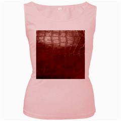 Leather Snake Skin Texture Women s Pink Tank Top