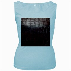 Leather Snake Skin Texture Women s Baby Blue Tank Top