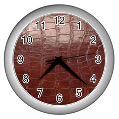 Leather Snake Skin Texture Wall Clocks (Silver)