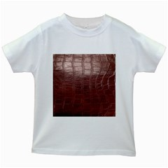 Leather Snake Skin Texture Kids White T-Shirts