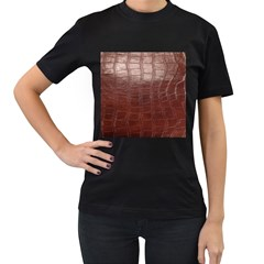 Leather Snake Skin Texture Women s T-Shirt (Black) (Two Sided)