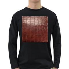 Leather Snake Skin Texture Long Sleeve Dark T Shirts