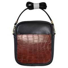 Leather Snake Skin Texture Girls Sling Bags