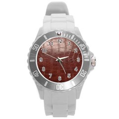 Leather Snake Skin Texture Round Plastic Sport Watch (l)