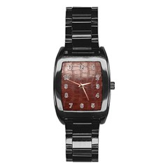 Leather Snake Skin Texture Stainless Steel Barrel Watch