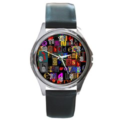 Letters A Abc Alphabet Literacy Round Metal Watch