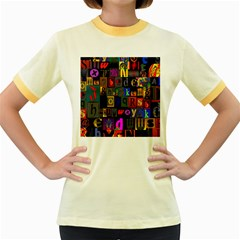 Letters A Abc Alphabet Literacy Women s Fitted Ringer T-Shirts