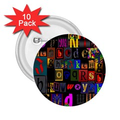 Letters A Abc Alphabet Literacy 2.25  Buttons (10 pack)