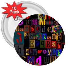 Letters A Abc Alphabet Literacy 3  Buttons (10 pack)