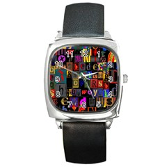 Letters A Abc Alphabet Literacy Square Metal Watch