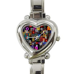 Letters A Abc Alphabet Literacy Heart Italian Charm Watch