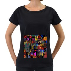 Letters A Abc Alphabet Literacy Women s Loose Fit T Shirt (black)