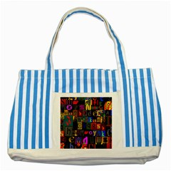 Letters A Abc Alphabet Literacy Striped Blue Tote Bag