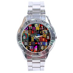 Letters A Abc Alphabet Literacy Stainless Steel Analogue Watch