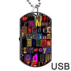 Letters A Abc Alphabet Literacy Dog Tag Usb Flash (two Sides)