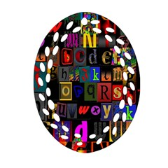 Letters A Abc Alphabet Literacy Oval Filigree Ornament (Two Sides)