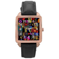 Letters A Abc Alphabet Literacy Rose Gold Leather Watch