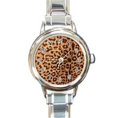 Leopard Print Animal Print Backdrop Round Italian Charm Watch
