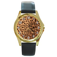 Leopard Print Animal Print Backdrop Round Gold Metal Watch