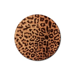 Leopard Print Animal Print Backdrop Rubber Round Coaster (4 pack)