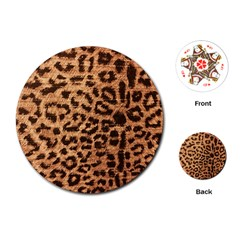 Leopard Print Animal Print Backdrop Playing Cards (Round)
