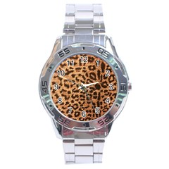Leopard Print Animal Print Backdrop Stainless Steel Analogue Watch