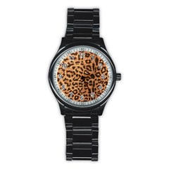 Leopard Print Animal Print Backdrop Stainless Steel Round Watch