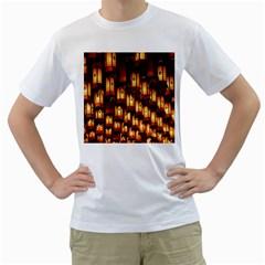 Light Art Pattern Lamp Men s T-Shirt (White) (Two Sided)