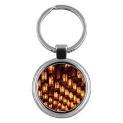 Light Art Pattern Lamp Key Chains (round)