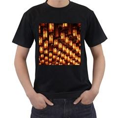 Light Art Pattern Lamp Men s T-Shirt (Black) (Two Sided)