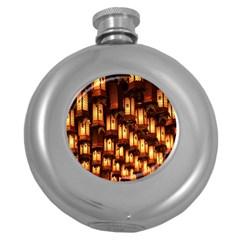 Light Art Pattern Lamp Round Hip Flask (5 oz)