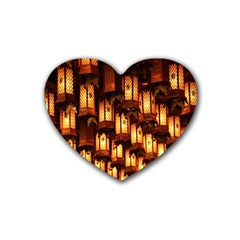 Light Art Pattern Lamp Heart Coaster (4 Pack)