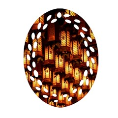 Light Art Pattern Lamp Oval Filigree Ornament (Two Sides)