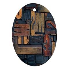 Letters Wooden Old Artwork Vintage Ornament (Oval)