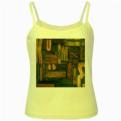 Letters Wooden Old Artwork Vintage Yellow Spaghetti Tank