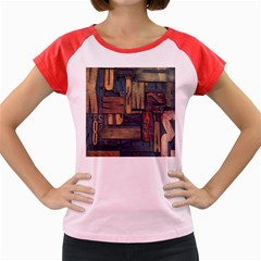 Letters Wooden Old Artwork Vintage Women s Cap Sleeve T-Shirt