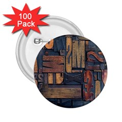 Letters Wooden Old Artwork Vintage 2.25  Buttons (100 pack)