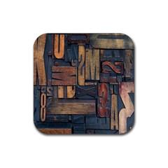 Letters Wooden Old Artwork Vintage Rubber Square Coaster (4 pack)