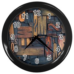Letters Wooden Old Artwork Vintage Wall Clocks (black)