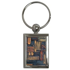 Letters Wooden Old Artwork Vintage Key Chains (Rectangle)