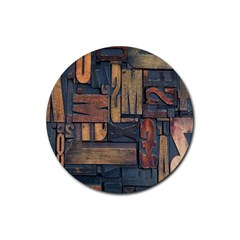 Letters Wooden Old Artwork Vintage Rubber Round Coaster (4 pack)