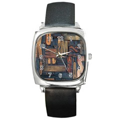 Letters Wooden Old Artwork Vintage Square Metal Watch