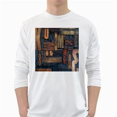 Letters Wooden Old Artwork Vintage White Long Sleeve T-Shirts