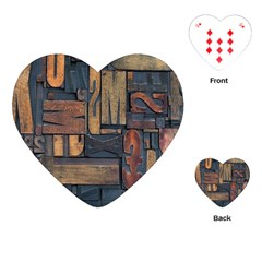 Letters Wooden Old Artwork Vintage Playing Cards (Heart)