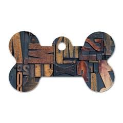 Letters Wooden Old Artwork Vintage Dog Tag Bone (Two Sides)