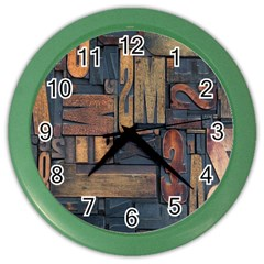 Letters Wooden Old Artwork Vintage Color Wall Clocks
